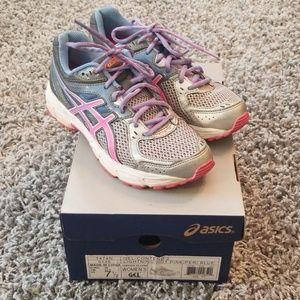 Ladies Asics Gel-Contend  Pink,Peri Blue Shoe 7.5